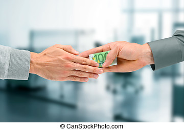 corruption concept - businessman giving a bribe