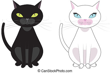Black and white cats - Two black and white cats, black have...
