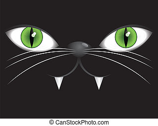 Face of black cat with green eyes - Portrait of cartoon cat...