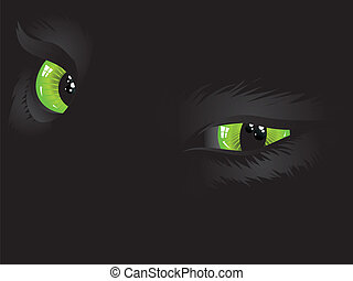 Green cat eyes in the dark - Cartoon cat eyes of green color...