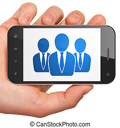 News concept: Business People on smartphone - News concept:...