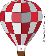 Red white air balloon - Hot air balloon of red and white...