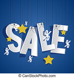 Hanging Sale on background vector illustration