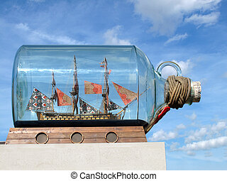 Boat in a bottle in Greenwich - A monument in Greenwich,...
