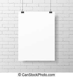Blank white poster on brick wall