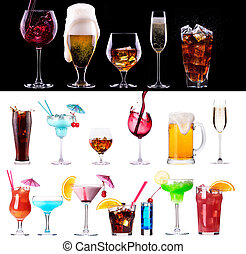 different images of alcohol isolated -...