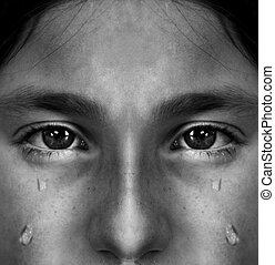 Girl Crying with Tears