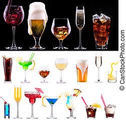 champanhe, branca, vinho, Cerveja, vermelho