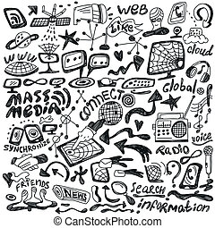 web , mass media - doodles set - web , mass media - icons in...