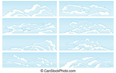 Set of clouds in vintage style.
