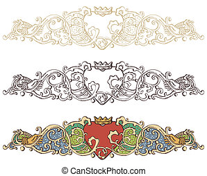 Set of renaissance crowned heart borders