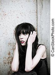 Retrato,  Goth, menina, assustado, chocado