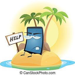 Mobile Phone Technology Shipwreck - Illustration of a...