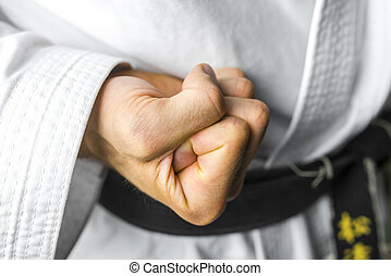 Karate fist - Closeup of karate fighter making a fist