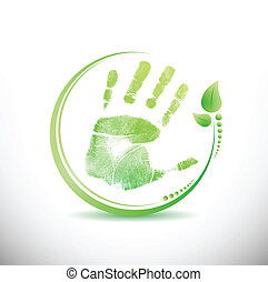 hand print leaves around illustration design over white