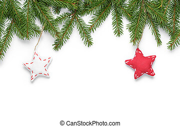 border from fir twigs with stars, on white background