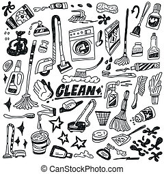 cleaning tools doodles - cleaning tools - set icons in...