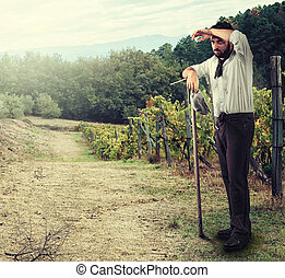 Farmer in the vineyard - Tired Farmer in the vineyard...