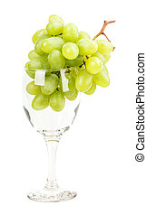 grape wine glass isolated on white background