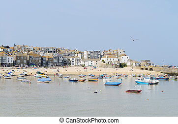 Boats in Cornwall - Fishing boats in St Ives Cornwall on a...