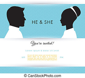 He and She - Vector illustration of He She