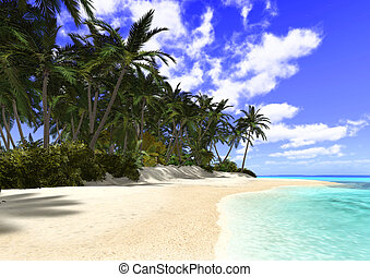 Beautiful Beach with Palm Trees - 3D digital render of a...