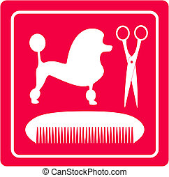 grooming icon with poodle dog - pink grooming icon with...
