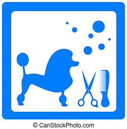 symbol with poodle and grooming - grooming symbol with...