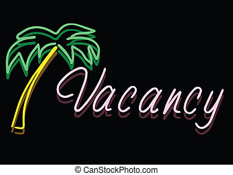 Vacancy Sign Vector - Vector Of Vintage Neon Vacancy Sign At...