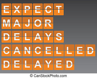 Airport Delay Sign - Mechanical Timetable Style Airport Sign...
