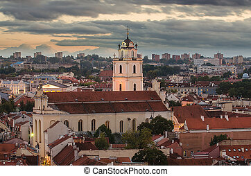 Sts Johns Church in Vilnius, Lithuania in the autumn sunset...