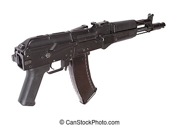 Kalashnikov AK with optical sight on white