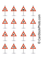 danger road sign set