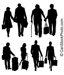 travelers  - Silhouettes of travelers with suitcases, vector