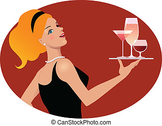 Waitress with drinks - Vintage inspired portrait of a young...