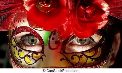 Beautiful Woman in Halloween Mask