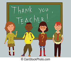 Thank you, teacher - Teachers day card with schoolchildren...
