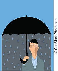 Depressed man - Sad man under umbrella, representing a...