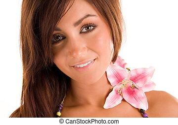 young woman with a flowerr