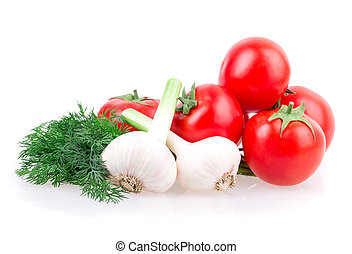 garlic, tomato, dill isolated on white background