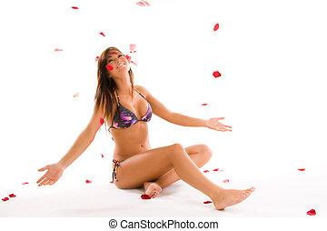 young woman in swimwear