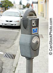Parking meter on an urban street