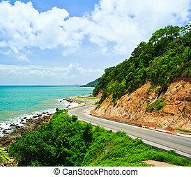 Road along the seashore