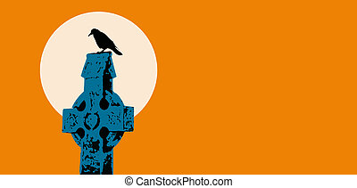 raven on celtic cross tombstone