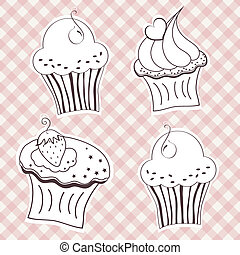 Creamy cupcake - Set of creamy cupcake vector set. Vector...