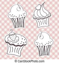 Creamy cupcake - Set of creamy cupcake vector set. Vector...