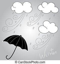 Winter weather and umbrella hand drawing illustration