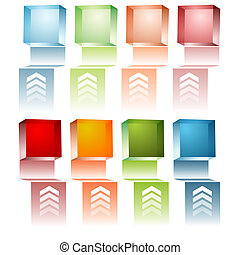 3d Cube Menu - An image of a set of 3d menu cubes.