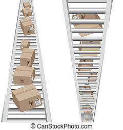 3d Vertical Conveyor Belt - An image of 3d boxes moving on a...