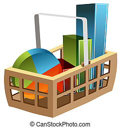 3D Business Chart Basket - An image of a 3d business chart...
